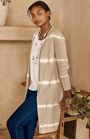 Image for Pure Jill Tie-Dyed-Stripes Duster Sweater