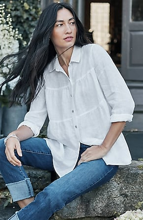 Image for Linen Tiered A-Line Shirt