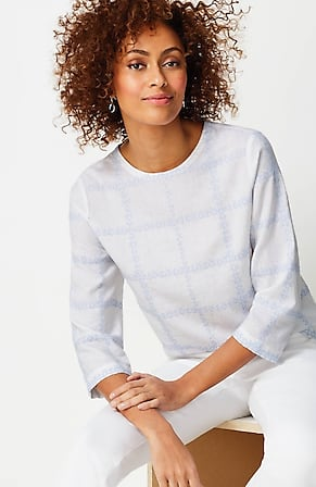 Image for Linen-Blend Embroidered-Plaid Top
