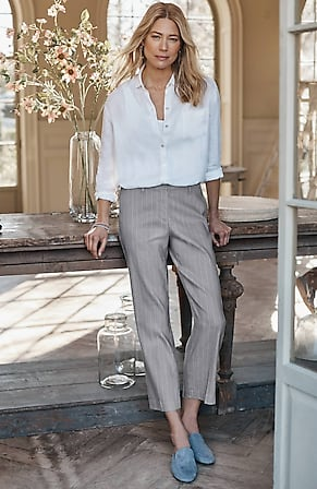 Image for Luxe Linen-Stretch Straight-Leg Crops