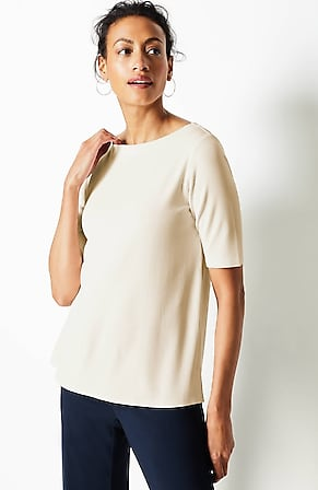 Image for Wearever Ribbed Boat-Neck Top