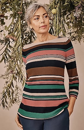 Image for Cotton & Rayon Striped Sweater