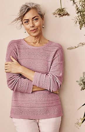 Image for Textured-Stripes Relaxed Sweater