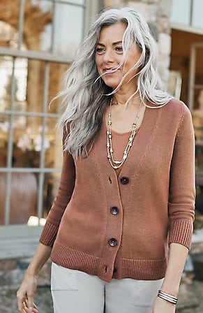 Image for V-Neck Cardi With Oversized Buttons