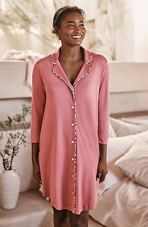 Image for Sleep Ultrasoft Piped Button-Front Shirtdress