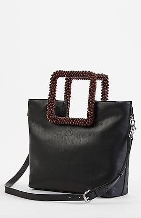 Image for Beaded-Handle Leather Mini Tote