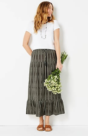 Image for Tiered Ikat Maxi Skirt