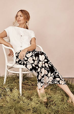 Image for Printed A-Line Knit Maxi Skirt