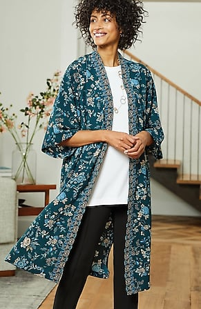 Image for Artful Vines Kimono-Sleeve Duster