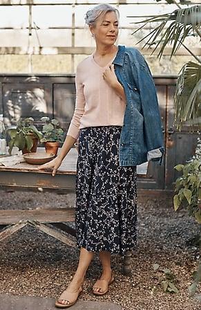 Image for Printed A-Line Midi Skirt