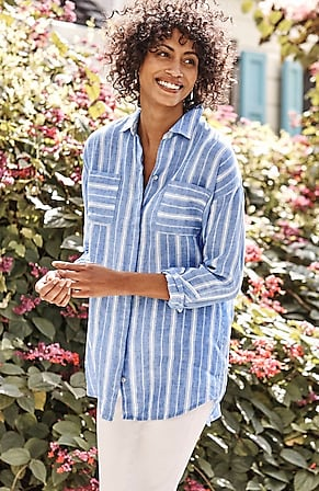 Image for Linen Relaxed Patch-Pocket Tunic