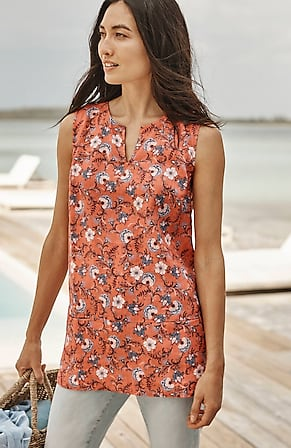 Image for Linen Sleeveless Two-Pocket Top