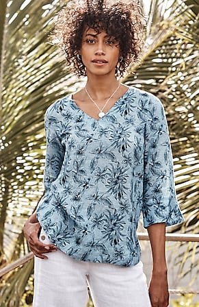 Image for Linen Palm-Print V-Neck Top