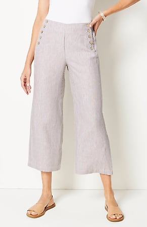 Image for Linen Full-Leg Sailor Crops