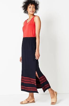 Image for New Horizons Linen & Rayon Maxi Skirt