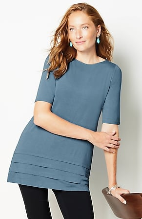 Image for Wearever Boat-Neck Elbow-Sleeve Tunic