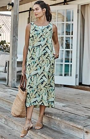 Image for Linen Sleeveless A-Line Midi Dress