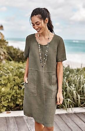 Image for Pure Jill Garment-Dyed Linen Seamed Dress