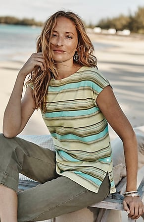 Image for Side-Button Cap-Sleeve Top