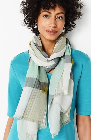 Image for Airy Yarn-Dyed Textured Scarf