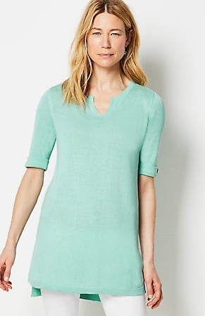 Image for Linen & Rayon Buttoned-Sleeve Sweater Tunic