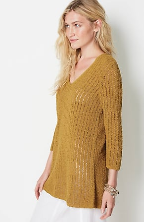Image for Textured Open-Stitch V-Neck Sweater