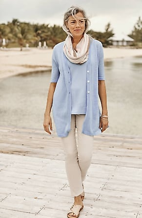 Image for Linen & Rayon Elbow-Sleeve Cardi