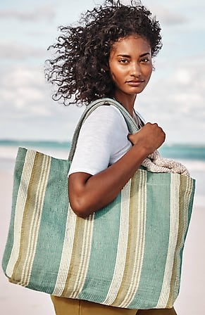 Image for Woven-Stripes Beach Bag