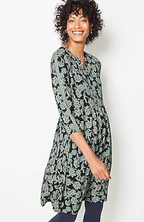 Image for Printed Knit Split-Neckline Dress