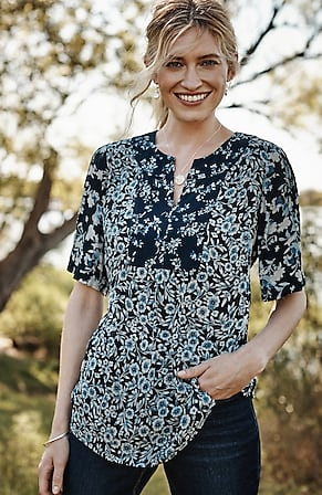 Image for Lakeside Blooms Mixed-Print Top