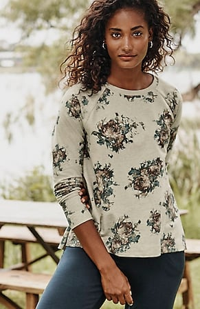 Image for Pleated-Back Printed Sweatshirt