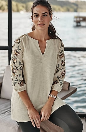 Image for Embroidered-Sleeve Mixed-Media Tunic