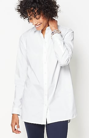 Image for Cotton-Stretch High-Low Shirttail Tunic