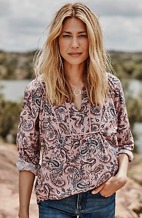 Image for Piped Paisley-Print Top