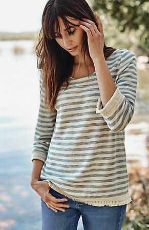 Image for Fringe-Trimmed Textured Knit Top