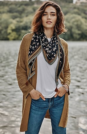 Image for Relaxed Open-Front Cabled Cardi