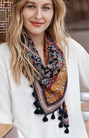 Image for Cotton & Silk Patterned-Jacobean Scarf