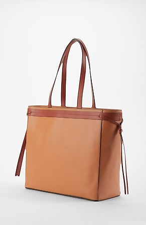 Image for Leather Side-Tie Color-Block Tote