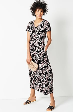 Image for Pleated Button-Front Maxi Dress