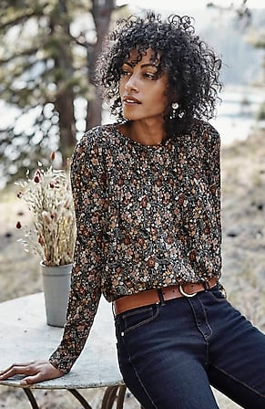 Image for Smocked Floral-Print Top