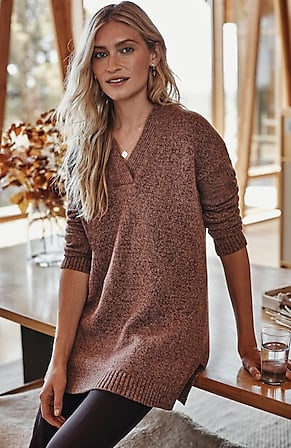 Image for Relaxed Marled V-Neck Sweater
