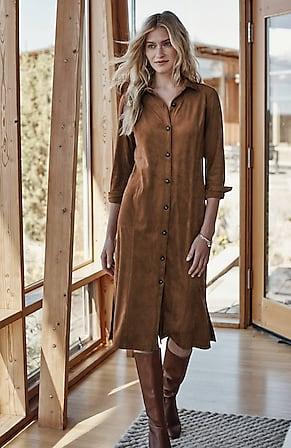 Image for Faux-Suede Midi Shirtdress