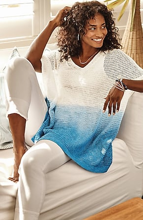 Image for Linen & Cotton Open-Stitch V-Neck Poncho