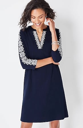 Image for Embroidered Knit 3/4-Sleeve Dress