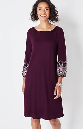 Image for Embroidered-Sleeve Knit A-Line Peasant Dress