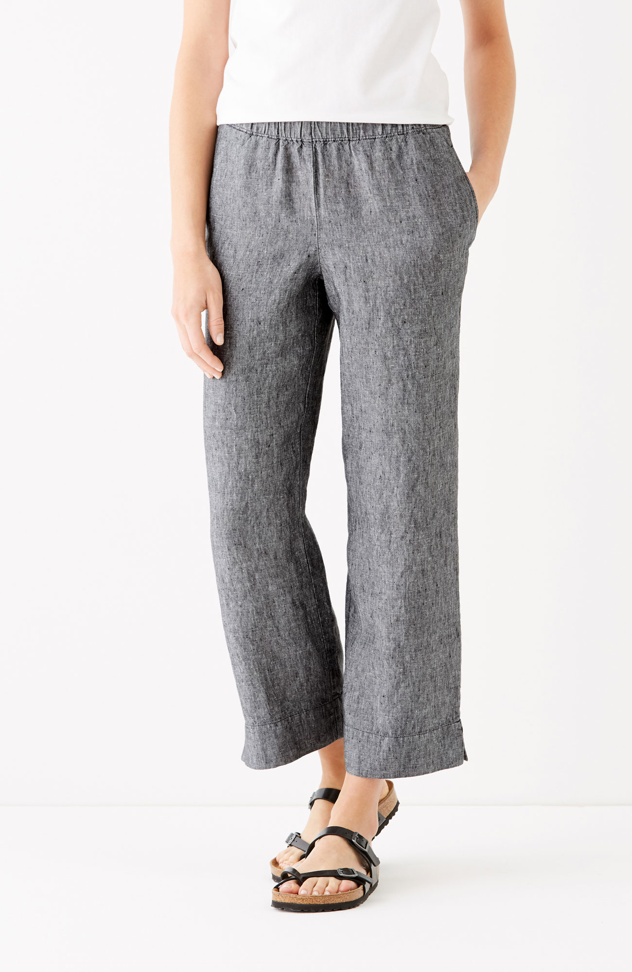 easy linen cropped pants