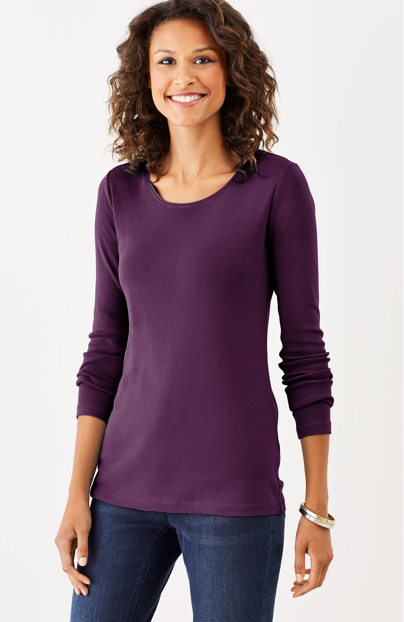 perfect pima long-sleeve delicate scoop-neck tee